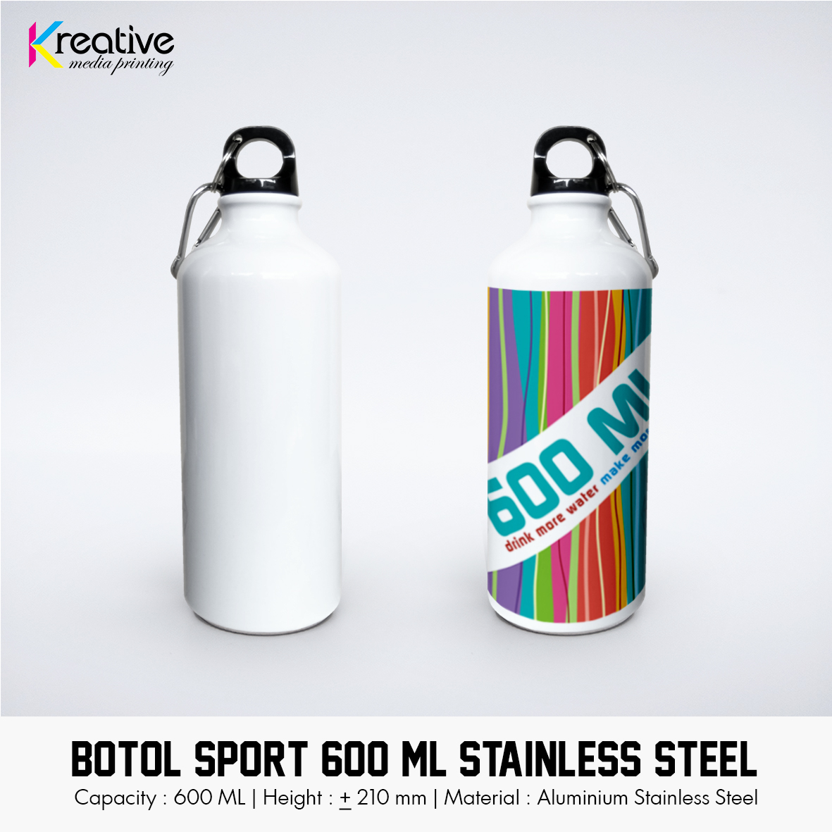 Botol Sport 600 ML Stainless Steel